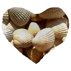 Tropical Exotic Sea Shells Large 19  Premium Flano Heart Shape Cushions