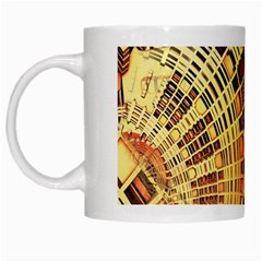 Semi Circles Abstract Geometric Modern Art Orange White Mugs by CrypticFragmentsDesign
