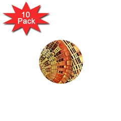 Semi Circles Abstract Geometric Modern Art Orange 1  Mini Magnet (10 Pack)  by CrypticFragmentsDesign