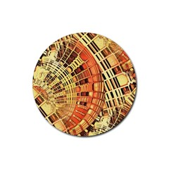 Semi Circles Abstract Geometric Modern Art Orange Rubber Coaster (round)  by CrypticFragmentsDesign