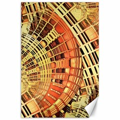 Semi Circles Abstract Geometric Modern Art Orange Canvas 24  X 36  by CrypticFragmentsDesign