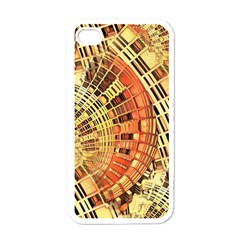 Semi Circles Abstract Geometric Modern Art Orange Apple Iphone 4 Case (white) by CrypticFragmentsDesign