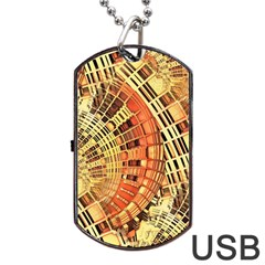 Semi Circles Abstract Geometric Modern Art Orange Dog Tag Usb Flash (two Sides)  by CrypticFragmentsDesign