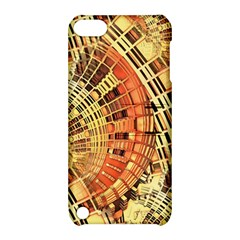 Semi Circles Abstract Geometric Modern Art Orange Apple Ipod Touch 5 Hardshell Case With Stand by CrypticFragmentsDesign