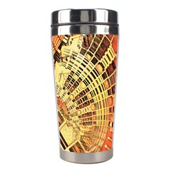Semi Circles Abstract Geometric Modern Art Orange Stainless Steel Travel Tumblers by CrypticFragmentsDesign