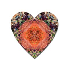 Boho Bohemian Hippie Floral Abstract Faded  Heart Magnet by CrypticFragmentsDesign