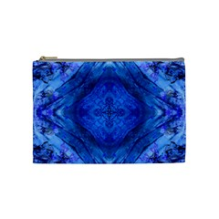 Boho Bohemian Hippie Tie Dye Cobalt Cosmetic Bag (medium)  by CrypticFragmentsDesign