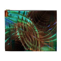 Metallic Abstract Copper Patina  Cosmetic Bag (xl) by CrypticFragmentsDesign