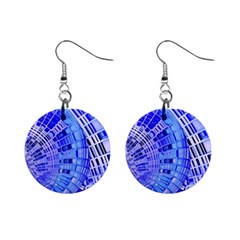 Semi Circles Abstract Geometric Modern Art Blue  Mini Button Earrings by CrypticFragmentsDesign