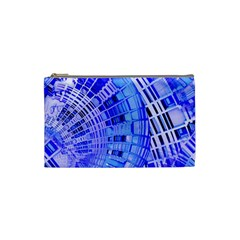 Semi Circles Abstract Geometric Modern Art Blue  Cosmetic Bag (small)  by CrypticFragmentsDesign