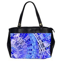 Semi Circles Abstract Geometric Modern Art Blue  Office Handbags (2 Sides)  by CrypticFragmentsDesign