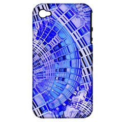 Semi Circles Abstract Geometric Modern Art Blue  Apple Iphone 4/4s Hardshell Case (pc+silicone) by CrypticFragmentsDesign