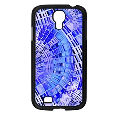 Semi Circles Abstract Geometric Modern Art Blue  Samsung Galaxy S4 I9500/ I9505 Case (black) by CrypticFragmentsDesign