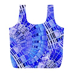 Semi Circles Abstract Geometric Modern Art Blue  Full Print Recycle Bags (l)