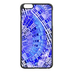 Semi Circles Abstract Geometric Modern Art Blue  Apple Iphone 6 Plus/6s Plus Black Enamel Case by CrypticFragmentsDesign