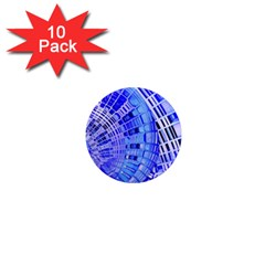 Semi Circles Abstract Geometric Modern Art Blue  1  Mini Magnet (10 Pack)  by CrypticFragmentsDesign