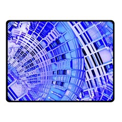 Semi Circles Abstract Geometric Modern Art Blue  Fleece Blanket (small) by CrypticFragmentsDesign