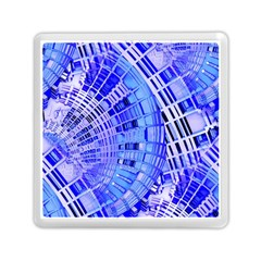 Semi Circles Abstract Geometric Modern Art Blue  Memory Card Reader (square)  by CrypticFragmentsDesign