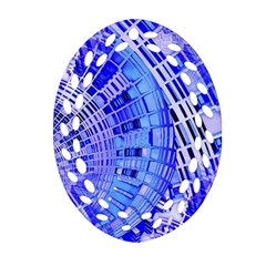 Semi Circles Abstract Geometric Modern Art Blue  Oval Filigree Ornament (2 Side)  by CrypticFragmentsDesign
