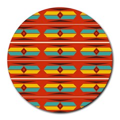 Shapes In Retro Colors Pattern                        			round Mousepad