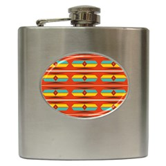 Shapes In Retro Colors Pattern                        			hip Flask (6 Oz) by LalyLauraFLM