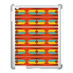 Shapes In Retro Colors Pattern                        			apple Ipad 3/4 Case (white) by LalyLauraFLM