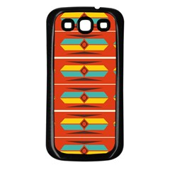 Shapes In Retro Colors Pattern                        			samsung Galaxy S3 Back Case (black) by LalyLauraFLM