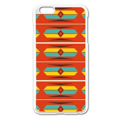 Shapes In Retro Colors Pattern                        			apple Iphone 6 Plus/6s Plus Enamel White Case by LalyLauraFLM
