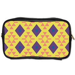 Tribal Shapes And Rhombus Pattern                        Toiletries Bag (two Sides) by LalyLauraFLM