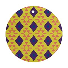 Tribal Shapes And Rhombus Pattern                        			ornament (round) by LalyLauraFLM