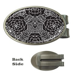 Mariager, Bold Flower Design, Black & White Money Clip (oval) by Zandiepants