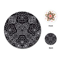 Mariager, Bold Flower Design, Black & White Playing Cards (round) by Zandiepants