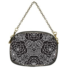 Mariager, Bold Flower Design, Black & White Chain Purse (one Side) by Zandiepants