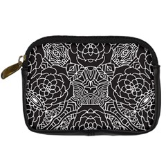 Mariager, Bold Flower Design, Black & White Digital Camera Leather Case by Zandiepants