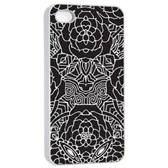 Mariager, Bold Flower Design, Black & White Apple Iphone 4/4s Seamless Case (white) by Zandiepants