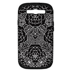 Mariager, Bold Flower Design, Black & White Samsung Galaxy S Iii Hardshell Case (pc+silicone) by Zandiepants
