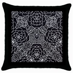 Mariager, Bold Flower Design, Black & White Throw Pillow Case (black) by Zandiepants
