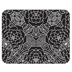 Mariager, Bold Flower Design, Black & White Double Sided Flano Blanket (medium) by Zandiepants
