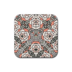 Petals In Vintage Pink, Bold Flower Design Rubber Coaster (square) by Zandiepants