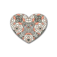Petals In Vintage Pink, Bold Flower Design Heart Coaster (4 Pack) by Zandiepants
