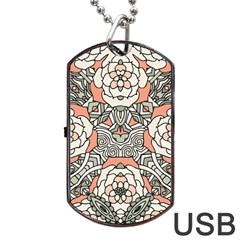 Petals In Vintage Pink, Bold Flower Design Dog Tag Usb Flash (two Sides) by Zandiepants