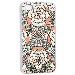 Petals In Vintage Pink, Bold Flower Design Apple Iphone 4/4s Seamless Case (white) by Zandiepants