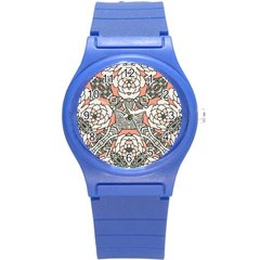 Petals In Vintage Pink, Bold Flower Design Round Plastic Sport Watch (s) by Zandiepants