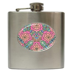 Petals, Carnival, Bold Flower Design Hip Flask (6 Oz) by Zandiepants