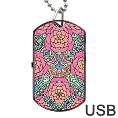 Petals, Carnival, Bold Flower Design Dog Tag Usb Flash (one Side) by Zandiepants