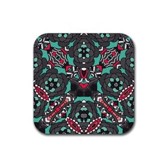 Petals In Dark & Pink, Bold Flower Design Rubber Coaster (square) by Zandiepants