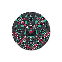 Petals In Dark & Pink, Bold Flower Design Rubber Coaster (round) by Zandiepants