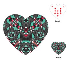 Petals In Dark & Pink, Bold Flower Design Playing Cards (heart) by Zandiepants