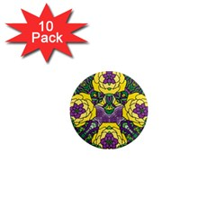 Petals In Mardi Gras Colors, Bold Floral Design 1  Mini Magnet (10 Pack)  by Zandiepants