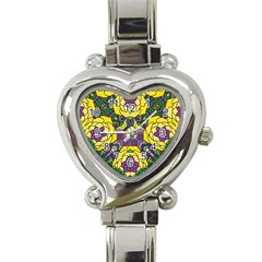 Petals In Mardi Gras Colors, Bold Floral Design Heart Italian Charm Watch by Zandiepants